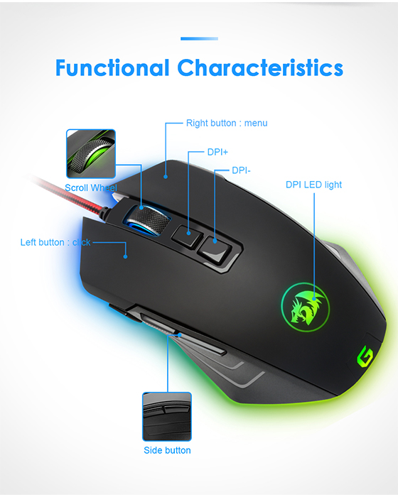 Redragon M715  RGB Dagger 10000 DPI Gaming Mouse